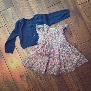 Baby Gap dress and cardigan